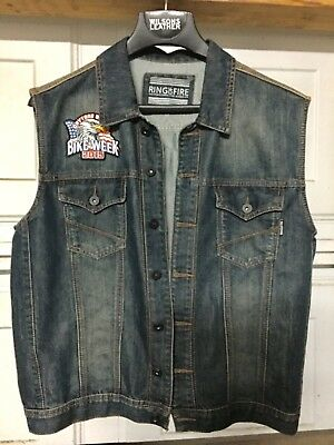 Biker Vest Blue Denim