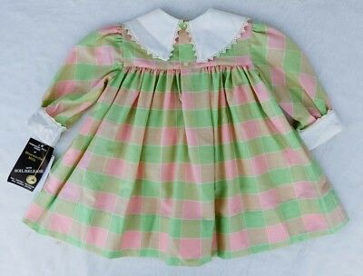 Vintage Polly Flinders 2T Long Sleeve Dress - Pink & Green - NWT