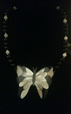 Vintage Lee Sands Inlaid Mother of Pearl Butterfly SIGNED