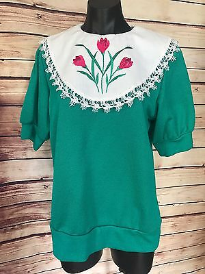 Vintage WOMENS SIZE S-M EMBROIDERED FLOWERS CROCHET COLLAR SWEATER KNIT TOP