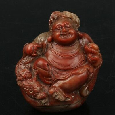 Chinese Exquisite Hand-carved Buddha toad carving Shoushan Stone seal