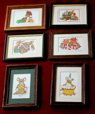 Dean Griff Six Framed Prints-Lot (Artist) Charming Tails) Decorative Collectible