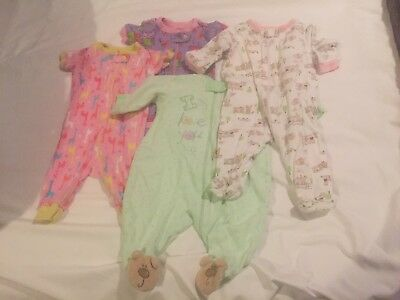 Mixed Lot of 4 Infant Girl One Piece Sleepers Sz 0-3M