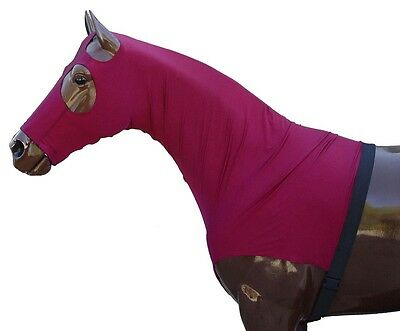 Lycra Stretch Horse Hood With Zip Full Face Horse Hood Mane Tamer Shoulder Guard