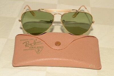 WWII ERA Vintage B&L RAY-BAN USA 12K Gold Filled AVIATOR Green Lens SUNGLASSES