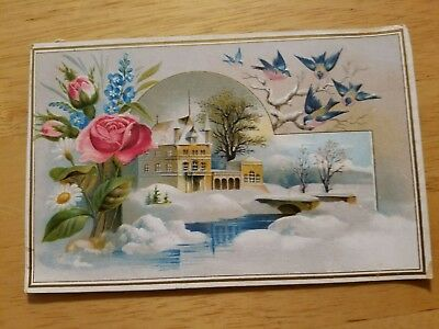 Des Moines Soap Works Advertising Trade Card Embossed Winter Scene