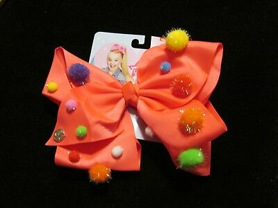 RARE Jojo Siwa Signature Large neon pink pompom  Bow -  GREAT FOR STOCKINGS