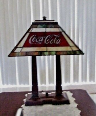 Tiffany Style Stained Glass Desk Table Lamp Coca Cola Double Metal Base