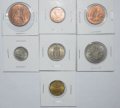 1953 Uk 7 Coin Set- Uncirculated Half Penny To Two Shillings