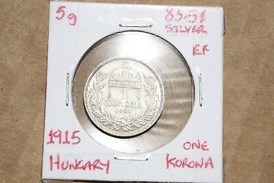 Hungary 1915 1 lev silver coin