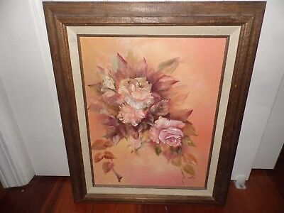 "Original Still Life Oil Painting/ Canvas Pink Roses, Signed/ Framed ""Carol Ross"""