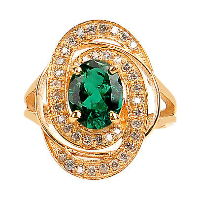 1.55 Carat 14KT Yellow Gold Natural Green Emerald EGL Certified Diamond Ring