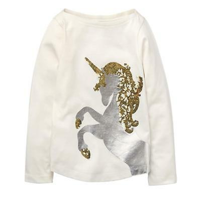 NWT Crazy 8 Sparkle Unicorn White Long Sleeve Girls Shirt 5-6 7-8 10-12 14