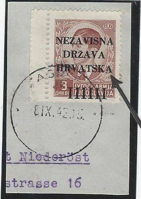 """Croatia. 1941 (12 April). 1st Provisional Issue. DAMAGED """"A"""" in """"HRVATSKA""""."""
