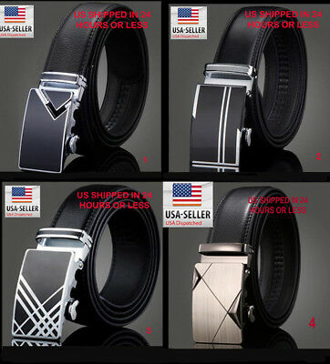 """Mens Leather Belt Click Comfort up to 46"""" Dress / Casual Belt Automatic Lock"""