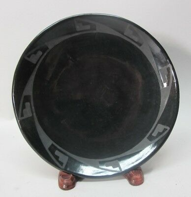 Fine Signed & Authentic MARIA MARTINEZ San Ildefonso Black-Ware Pottery Plate