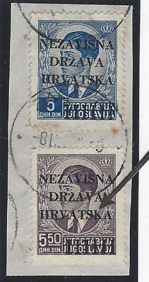 """Croatia. 1941 (12 April). 1st Provisional Issue. INCOMPLETE """"K"""" IN """"HRVATSKA""""."""