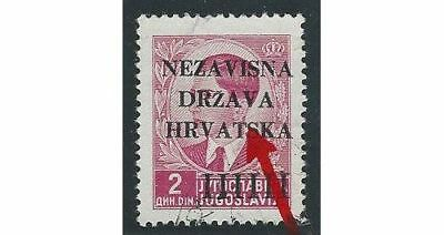 """Croatia. 1941 (12 April). 1st Provisional Issue. """"Earring"""" variety."""