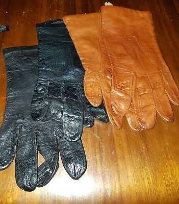 vintage 2 x pair leather gloves