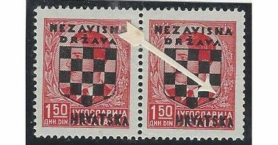 Croatia. 1941 (21 April). 2nd Provisional Issue. OVPT ERROR (Position 30).