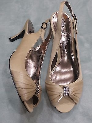 Women's 6.5 NINA Champagne Gold Jeweled Mother of the Bride Wedding Shoes