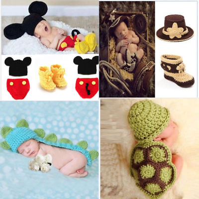Newborn Baby Crochet Knit Costume Photo Photography Prop Outfits Tortoise Mickey