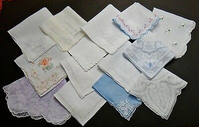 Lot of 14 Vintage Linen Hankies - Madeira Appenzell Embroidery Appliqué & MORE!