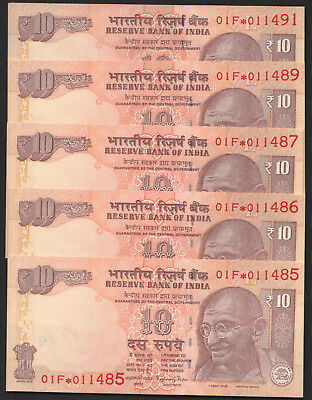 indian  Ten   rupees  STAR   ISSUE  UNC  CONDITIONS  FIVE   NOTES  LOT