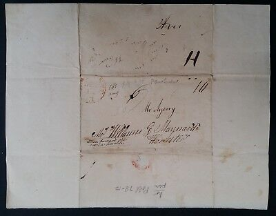 SCARCE 1834 United States Folded Letter from Pawtucket to Worcester