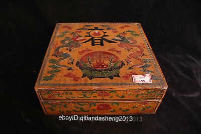 19cm Chinese 100% hand-carved wood ancient dragon Tea box case kettle pot