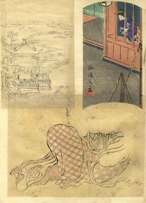 Sheet of Japanese Scenes - 19th-century Japanese watercolour & woodblock print