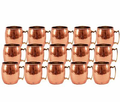 Handmade Premium Quality Set of 15 Moscow Mule 100% Copper Hammered Beer Mug