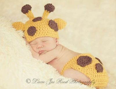 Baby Giraffe Photo Prop/Giraffe Hat and Diaper Cover/Newborn Photo Prop