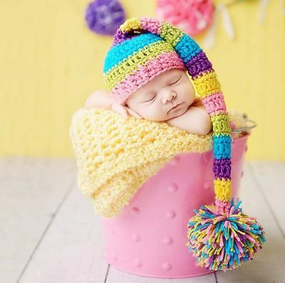 Elf Hat Beanies Costume newborn outfits Crochet Long Tail hat photography props
