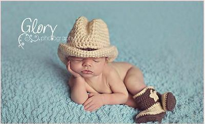 Crochet Baby Boy Cowboy Hat and Boots Set Outfits Photography Props 0-6 months