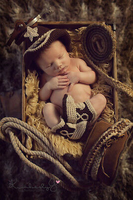 Crochet Baby Cowboy Boots and Hat Set Outfits Photography Props   0-6 months