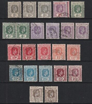 GEOVI MAURITIUS 38/43 set to 1R fine used cat £20-+ inc shades