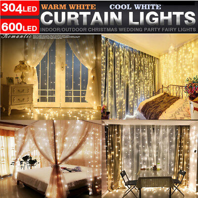Fairy Curtain String Light Hanging Backdrop Wall Lights Wedding Party Xmas
