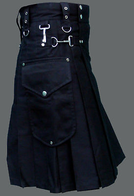 Men's Black Cotton Utility Tactical DELUXE Cargo Pocket Gothic Kilt Skirt