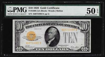 1928 $10 Gold Certificate Note Fr. 2400 PMG About Uncirculated 50EPQ Lot 314
