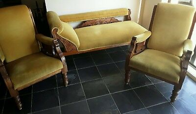 Antique three piece Chaise Lounge and Two Chairs