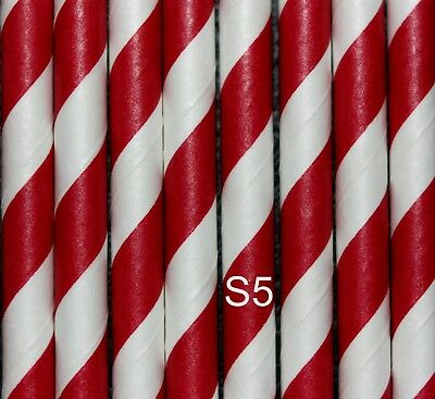 25 Red and white England Football/Candy Cane Design Straws, Biodegradable