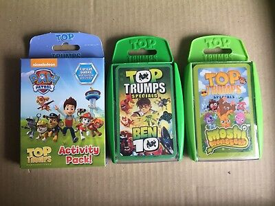 Top Trumps Cards - Paw Patrol / Ben 10 / Moshi Monsters