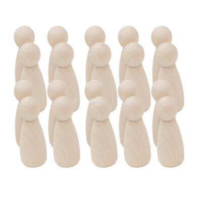 20Pcs Unfinished Wood Peg Doll Natural Wooden People DIY Craft Dolls Decoration