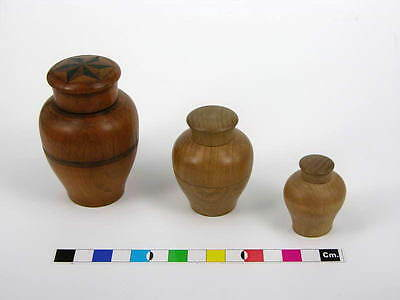 Antique 19th Century Turned Wood Set of Three Nested Pots Tunbridgeware Inlay