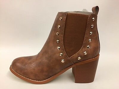Brand New Boxed Ladies Tan Distressed Look Stud Detail Ankle Boots UK 7 EU 40