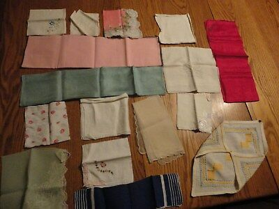 Lot of 15 Vintage Variety  Hankies Hankerchiefs:  Floral, Whites,Colors