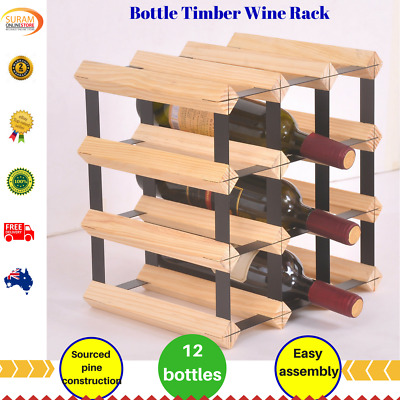 12 Bottle Timber Wine Rack Storage System stylish design Complete Wooden pine