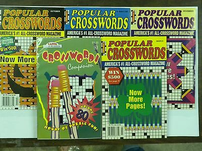 Lot of 5 Different Popular Crossword Puzzle books Puzzles 5X7 NEW