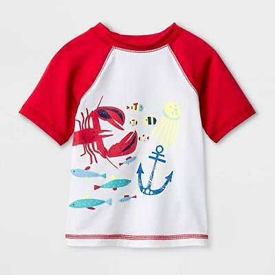 Baby Boys' Short Sleeve Lobster Rash Guard - Cat & Jack™ Red 12M